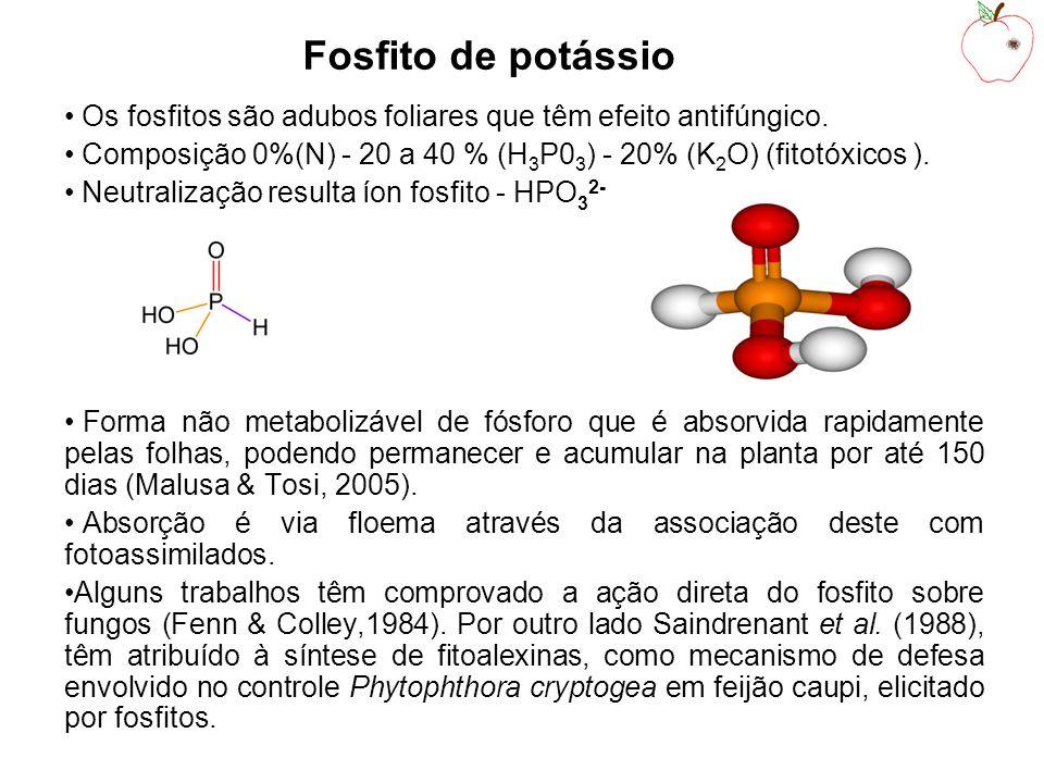 Fosfito de potássio Os fosfitos são adubos foliares que têm efeito antifúngico. Composição 0%(N) - 20 a 40 % (H3P03) - 20% (K2O) (fitotóxicos ).
