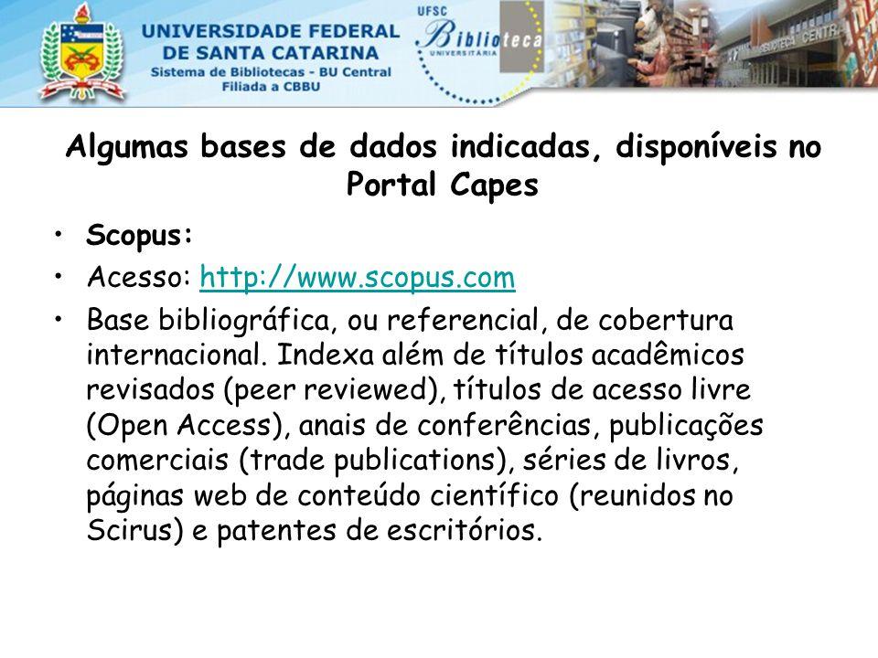 Algumas bases de dados indicadas, disponíveis no Portal Capes