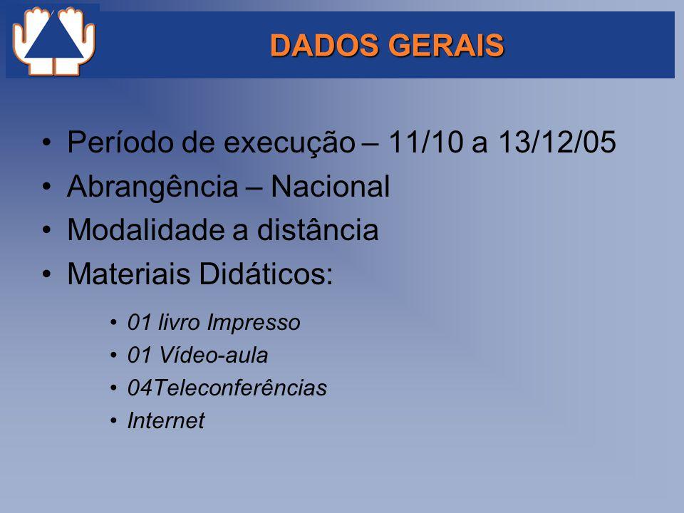 Período de execução – 11/10 a 13/12/05 Abrangência – Nacional