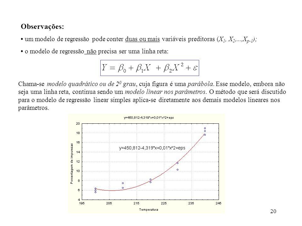 Observações: • um modelo de regressão pode conter duas ou mais variáveis preditoras (X1, X2,...,Xp-1);