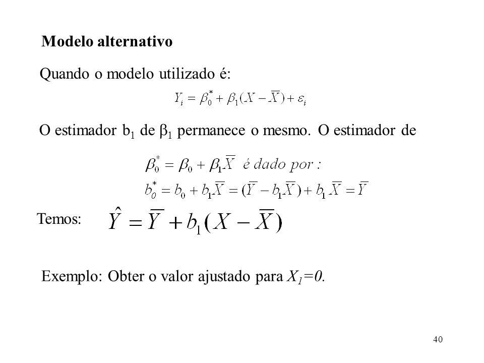 Modelo alternativo Quando o modelo utilizado é: O estimador b1 de 1 permanece o mesmo. O estimador de.