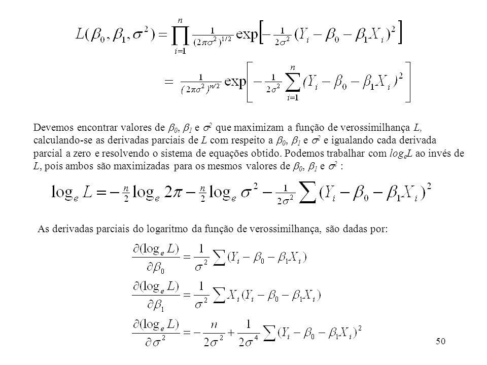 Devemos encontrar valores de 0, 1 e 2 que maximizam a função de verossimilhança L, calculando-se as derivadas parciais de L com respeito a 0, 1 e 2 e igualando cada derivada parcial a zero e resolvendo o sistema de equações obtido. Podemos trabalhar com logeL ao invés de L, pois ambos são maximizadas para os mesmos valores de 0, 1 e 2 :
