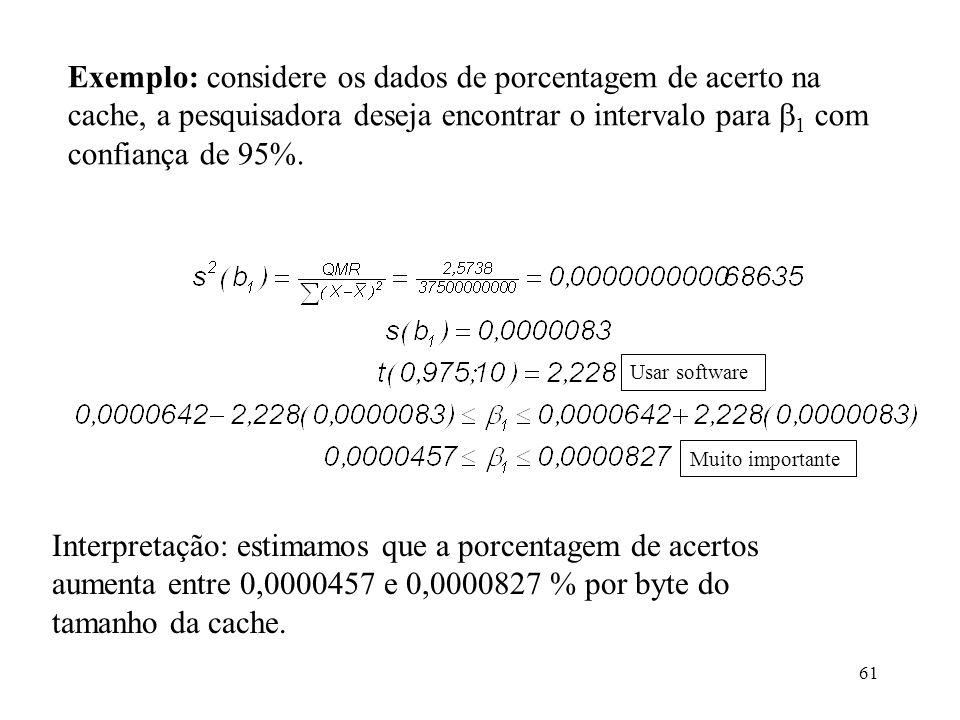 Exemplo: considere os dados de porcentagem de acerto na cache, a pesquisadora deseja encontrar o intervalo para 1 com confiança de 95%.