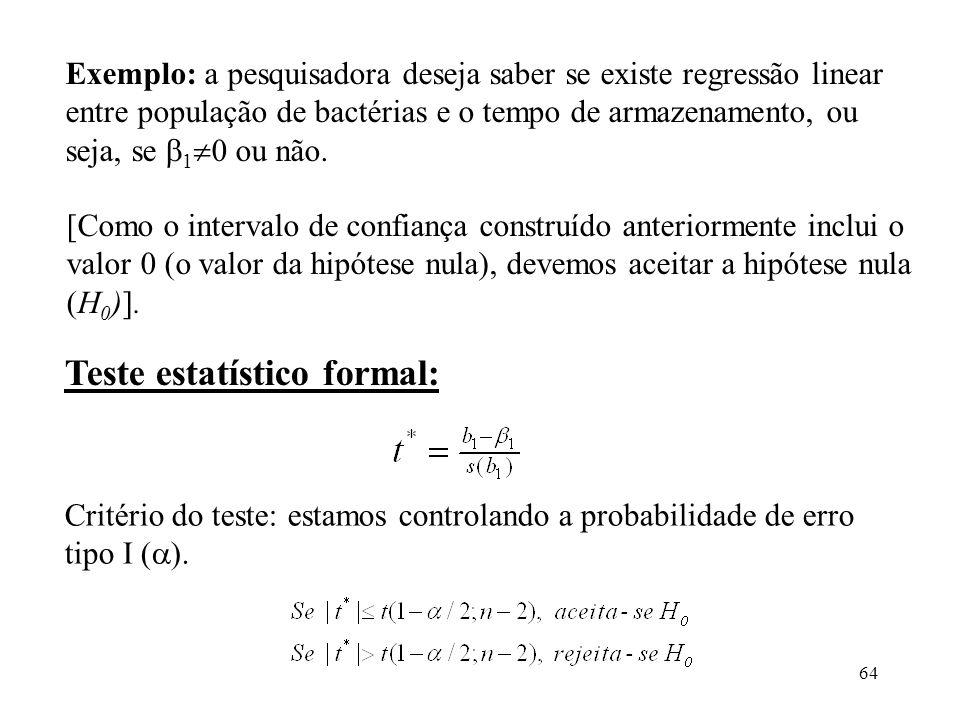 Teste estatístico formal: