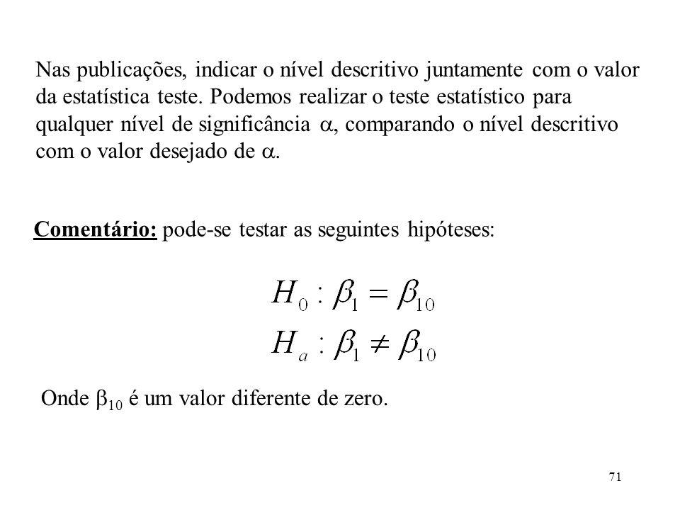 Nas publicações, indicar o nível descritivo juntamente com o valor da estatística teste. Podemos realizar o teste estatístico para qualquer nível de significância , comparando o nível descritivo com o valor desejado de .