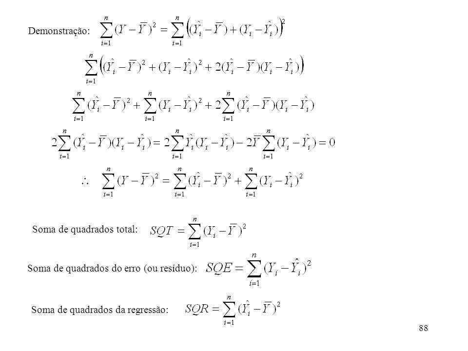 Demonstração: Soma de quadrados total: Soma de quadrados do erro (ou resíduo): Soma de quadrados da regressão:
