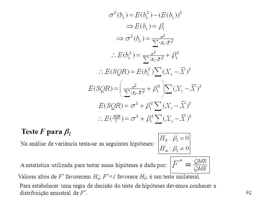 Teste F para 1 Na análise de variância testa-se as seguintes hipóteses: A estatística utilizada para testar essas hipóteses é dada por: