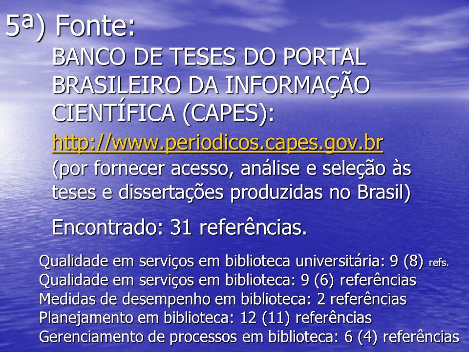 5ª) Fonte:. BANCO DE TESES DO PORTAL. BRASILEIRO DA INFORMAÇÃO