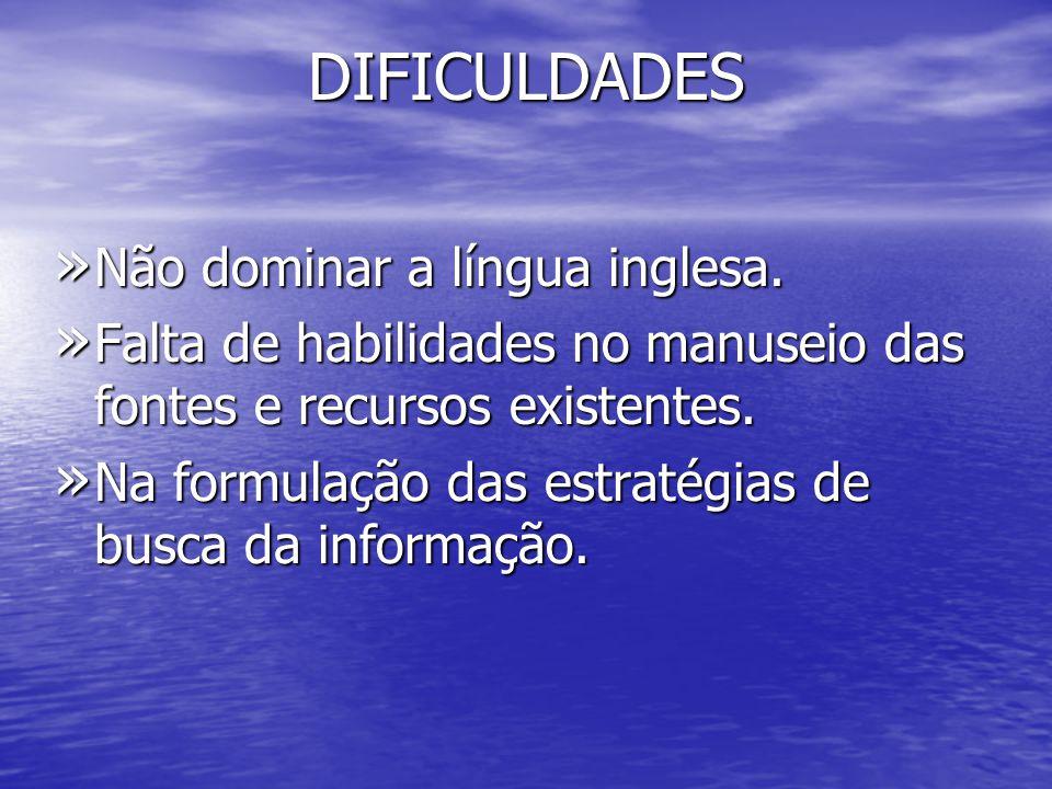 DIFICULDADES Não dominar a língua inglesa.