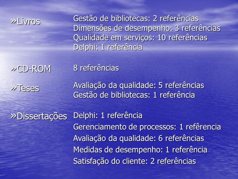 Livros CD-ROM Teses Dissertações Gestão de bibliotecas: 2 referências