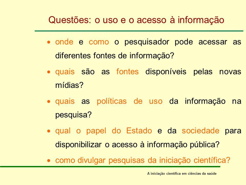 Questões: o uso e o acesso à informação