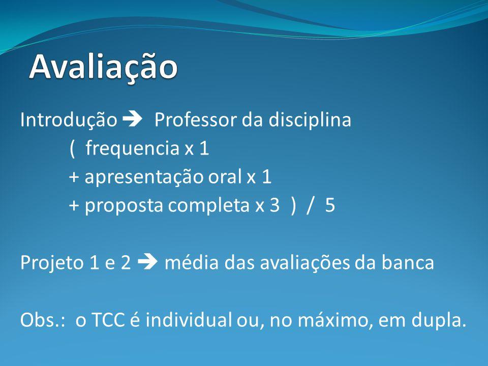 Avaliação Introdução  Professor da disciplina ( frequencia x 1