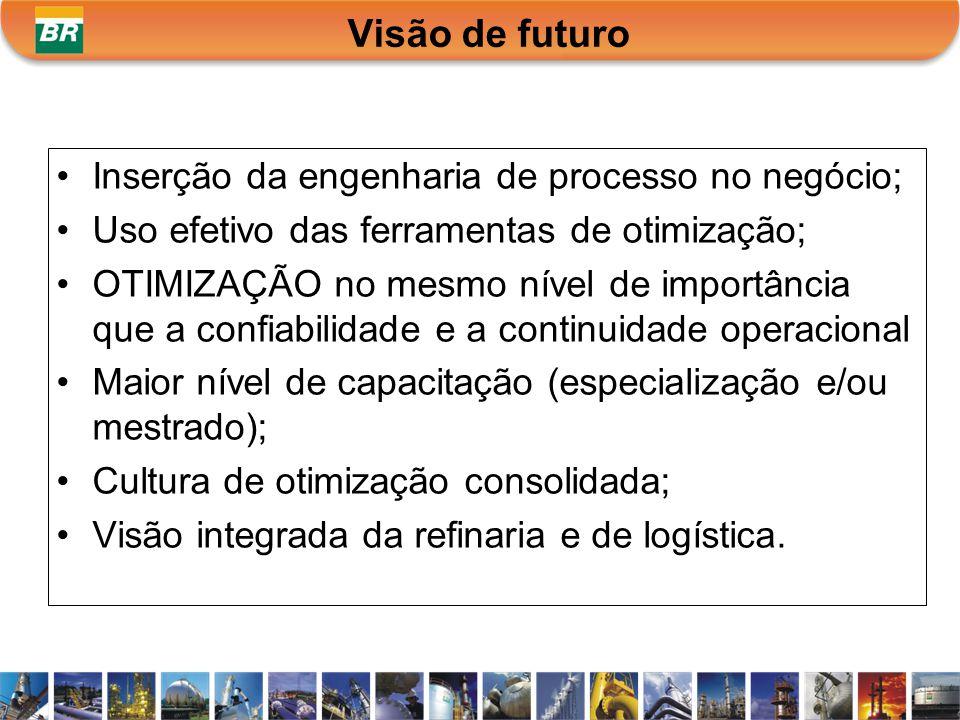 Visão de futuro Inserção da engenharia de processo no negócio;
