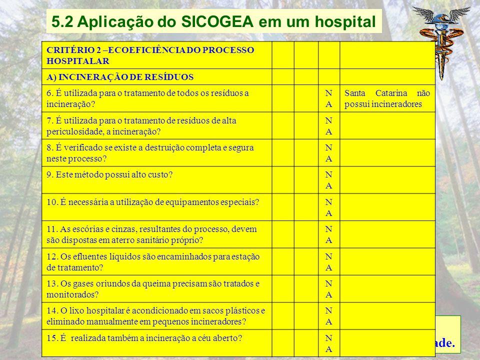 5.2 Aplicação do SICOGEA em um hospital