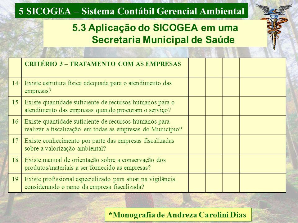 5 SICOGEA – Sistema Contábil Gerencial Ambiental