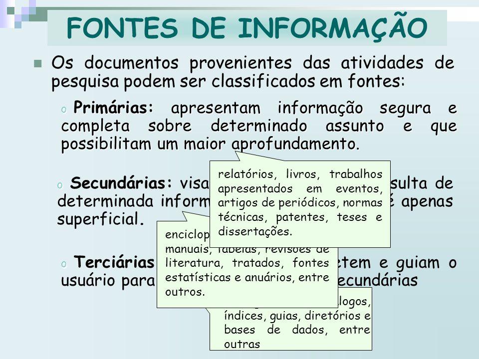 FONTES DE INFORMAÇÃO Os documentos provenientes das atividades de pesquisa podem ser classificados em fontes:
