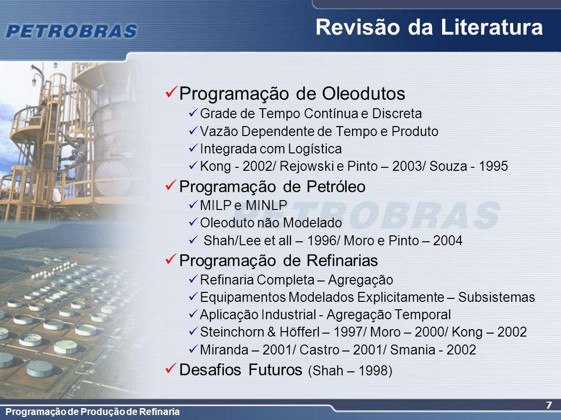 Revisão da Literatura Programação de Oleodutos Programação de Petróleo