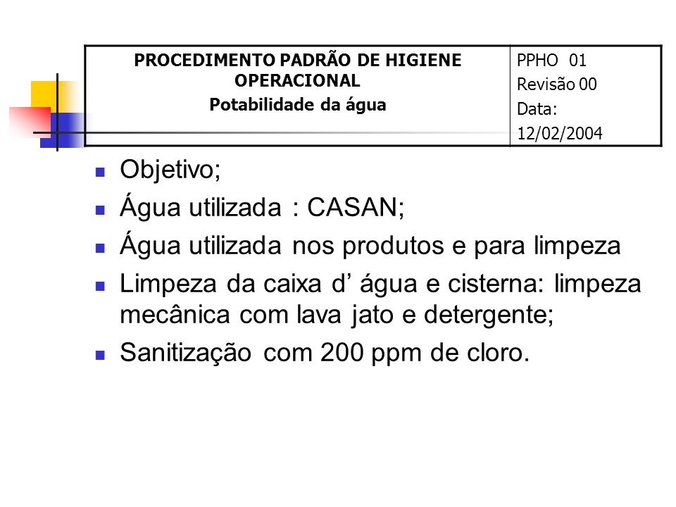 PPHO Nº1: PADRÃO DE POTABILIDADE DA ÁGUA