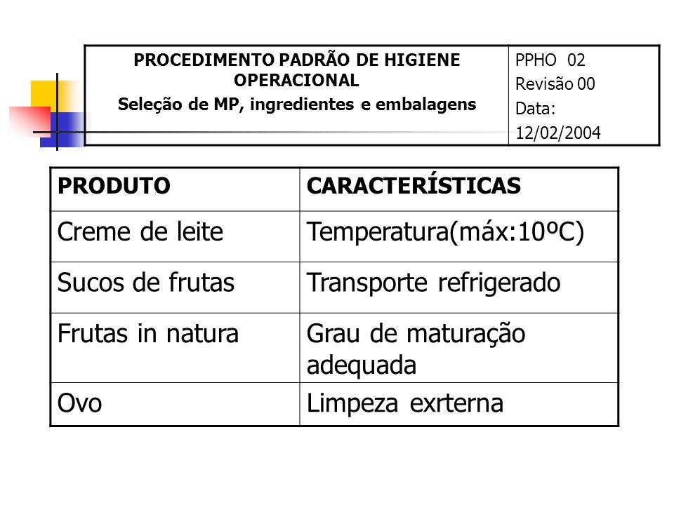 Transporte refrigerado Frutas in natura Grau de maturação adequada Ovo