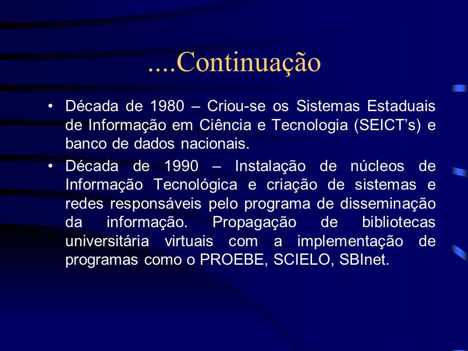 ....Continuação Década de 1980 – Criou-se os Sistemas Estaduais de Informação em Ciência e Tecnologia (SEICT's) e banco de dados nacionais.