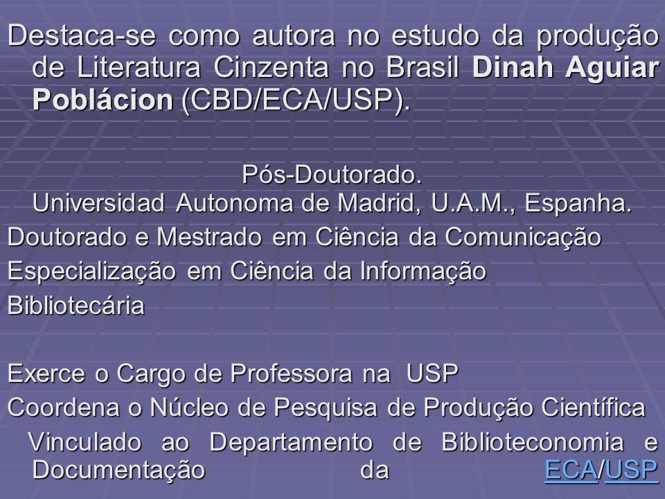 Destaca-se como autora no estudo da produção de Literatura Cinzenta no Brasil Dinah Aguiar Poblácion (CBD/ECA/USP).