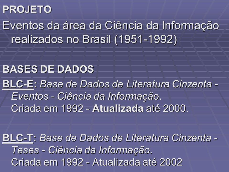 PROJETO Eventos da área da Ciência da Informação realizados no Brasil (1951-1992) BASES DE DADOS.