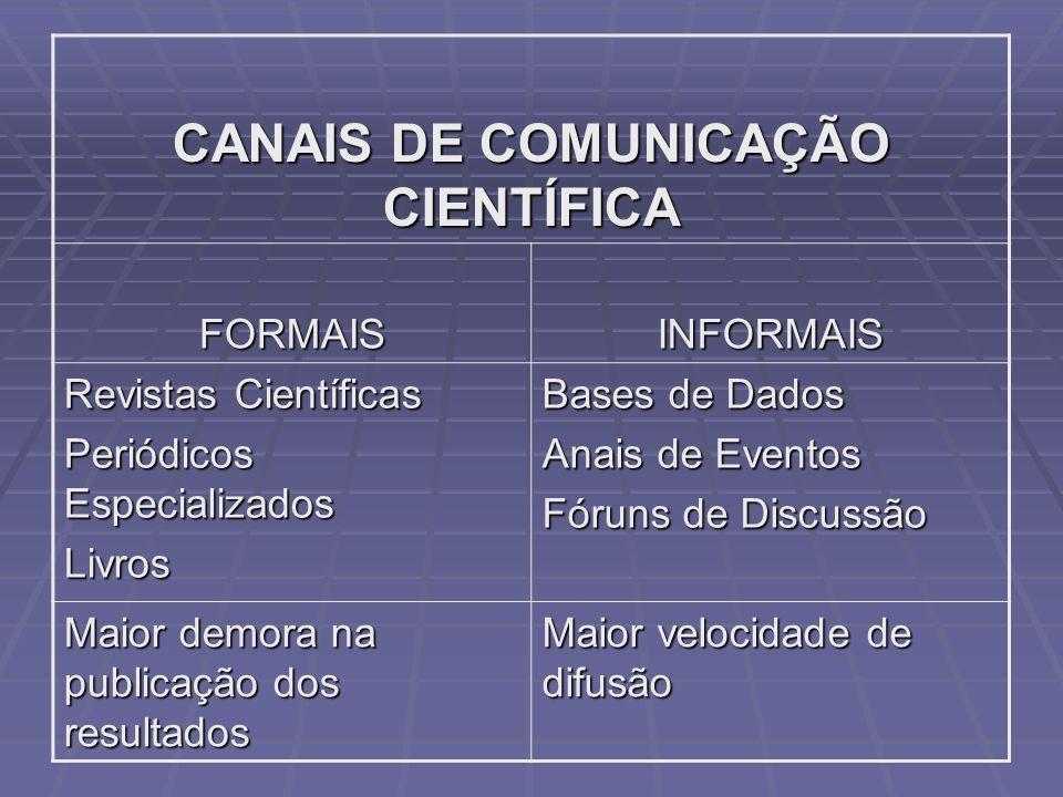 CANAIS DE COMUNICAÇÃO CIENTÍFICA