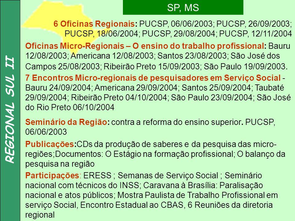REGIONAL SUL II SP, MS. 6 Oficinas Regionais: PUCSP, 06/06/2003; PUCSP, 26/09/2003; PUCSP, 18/06/2004; PUCSP, 29/08/2004; PUCSP, 12/11/2004.