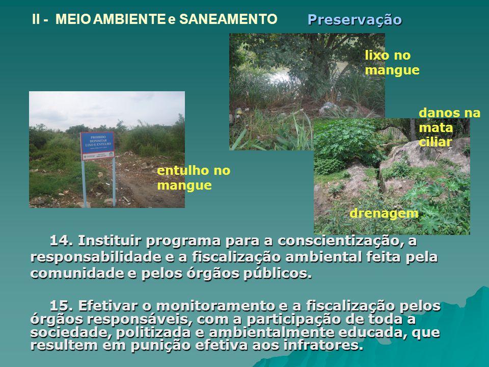 II - MEIO AMBIENTE e SANEAMENTO Preservação