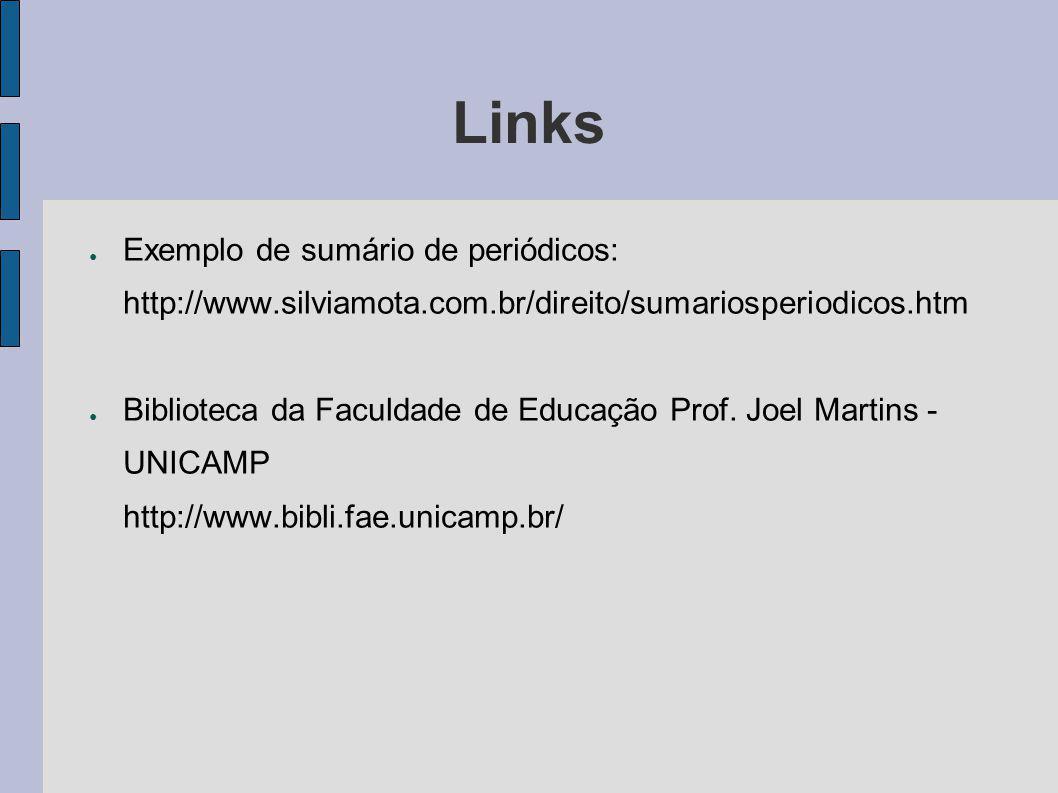 Links Exemplo de sumário de periódicos: