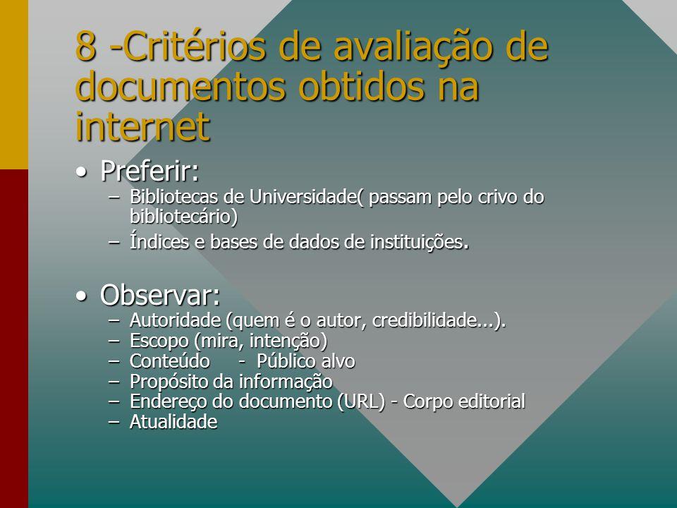 8 -Critérios de avaliação de documentos obtidos na internet