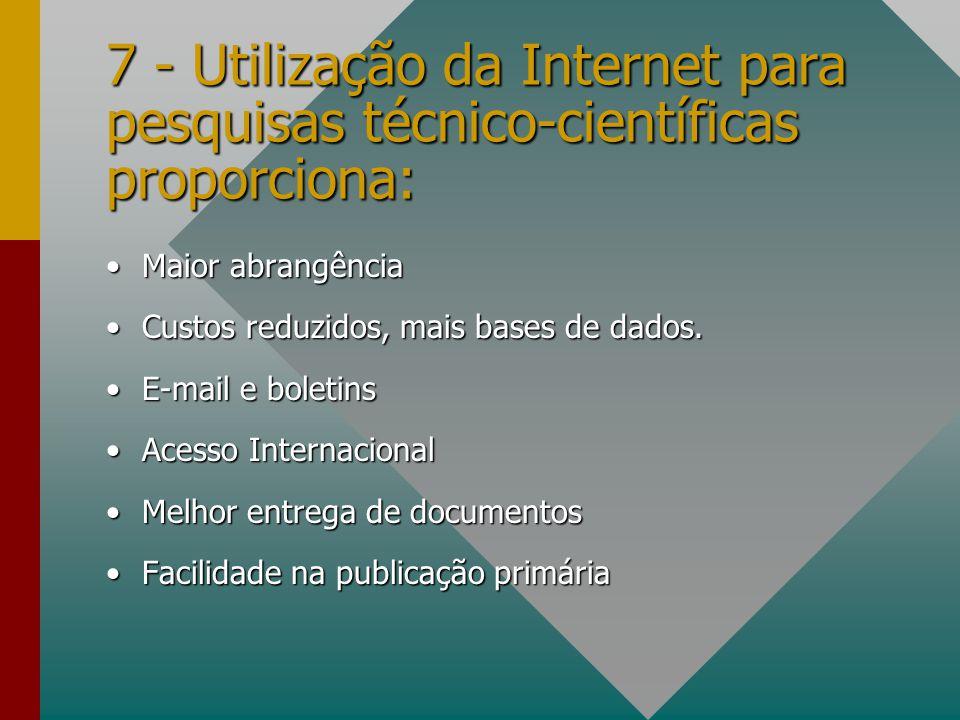 7 - Utilização da Internet para pesquisas técnico-científicas proporciona: