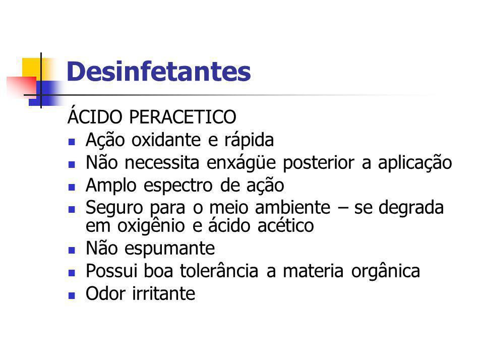 Desinfetantes ÁCIDO PERACETICO Ação oxidante e rápida
