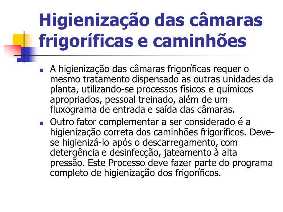 Higienização das câmaras frigoríficas e caminhões