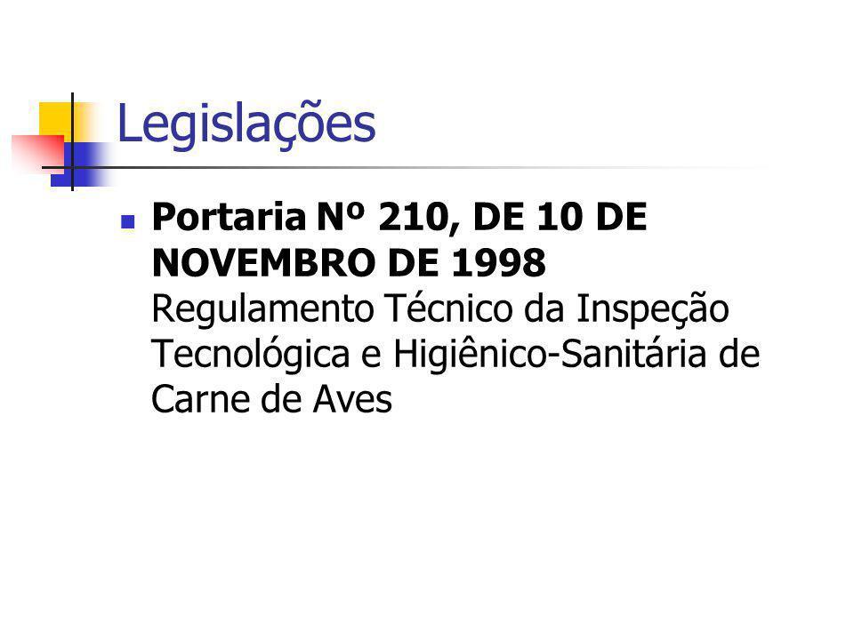 Legislações Portaria Nº 210, DE 10 DE NOVEMBRO DE 1998 Regulamento Técnico da Inspeção Tecnológica e Higiênico-Sanitária de Carne de Aves.