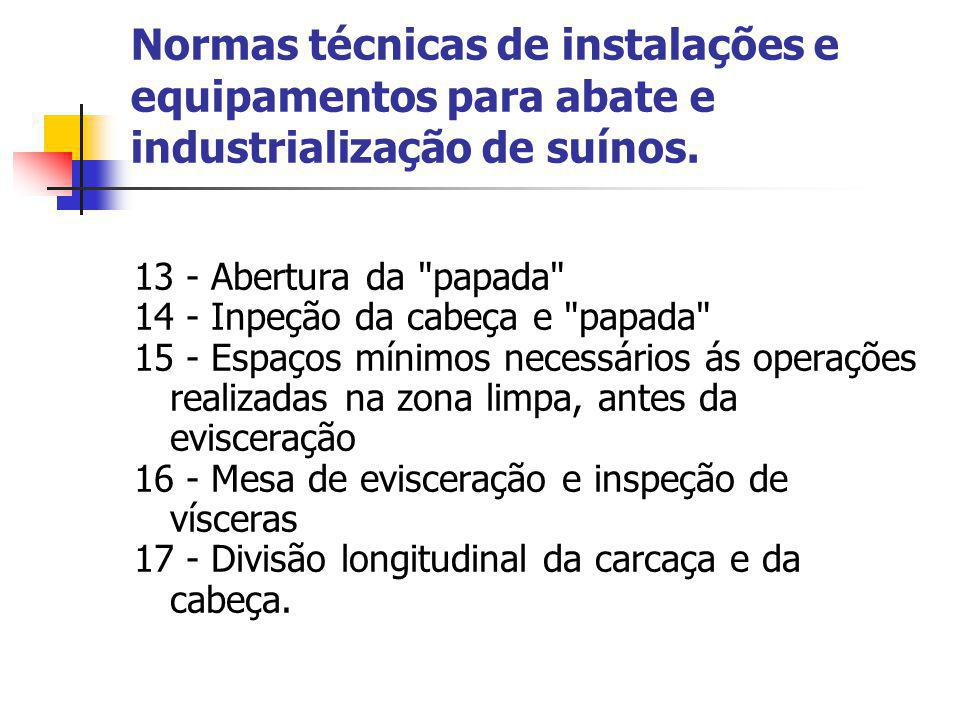 Normas técnicas de instalações e equipamentos para abate e industrialização de suínos.