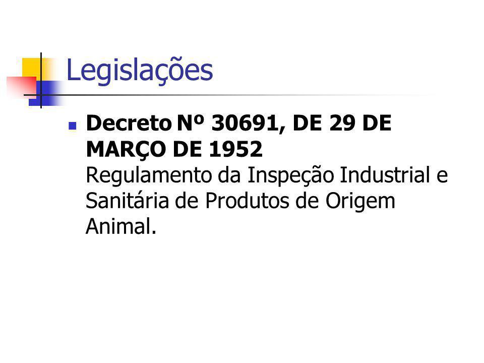 Legislações Decreto Nº 30691, DE 29 DE MARÇO DE 1952 Regulamento da Inspeção Industrial e Sanitária de Produtos de Origem Animal.