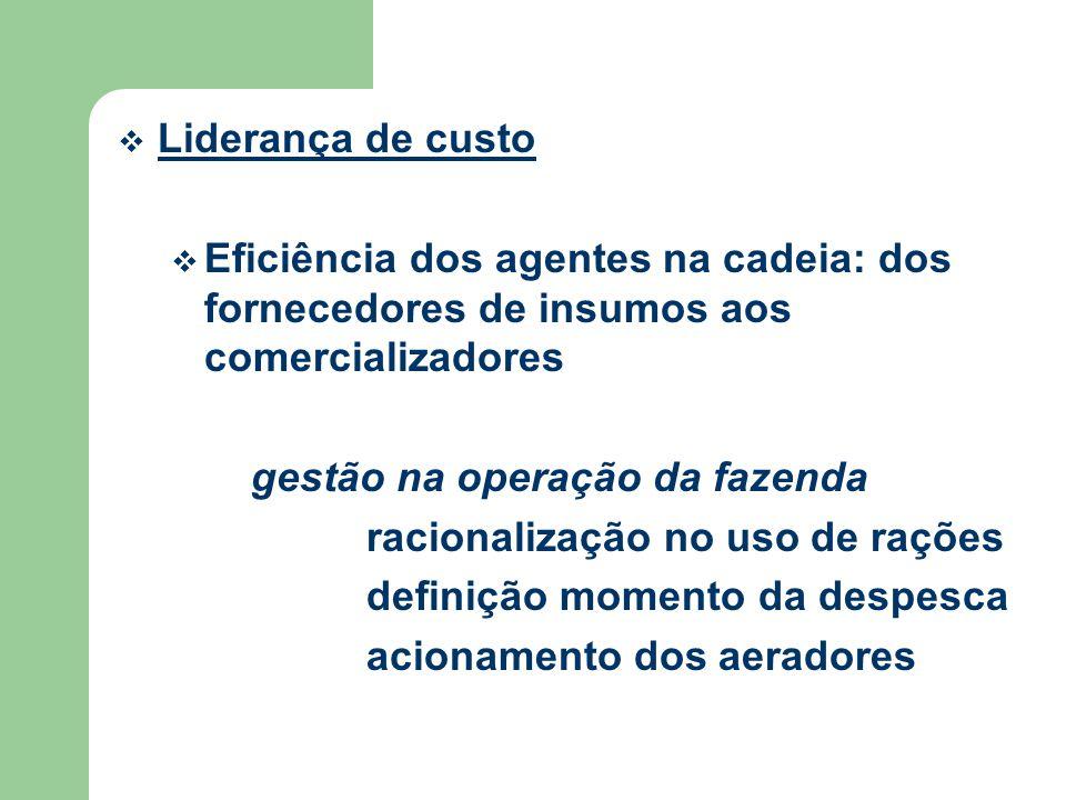 Liderança de custo Eficiência dos agentes na cadeia: dos fornecedores de insumos aos comercializadores.