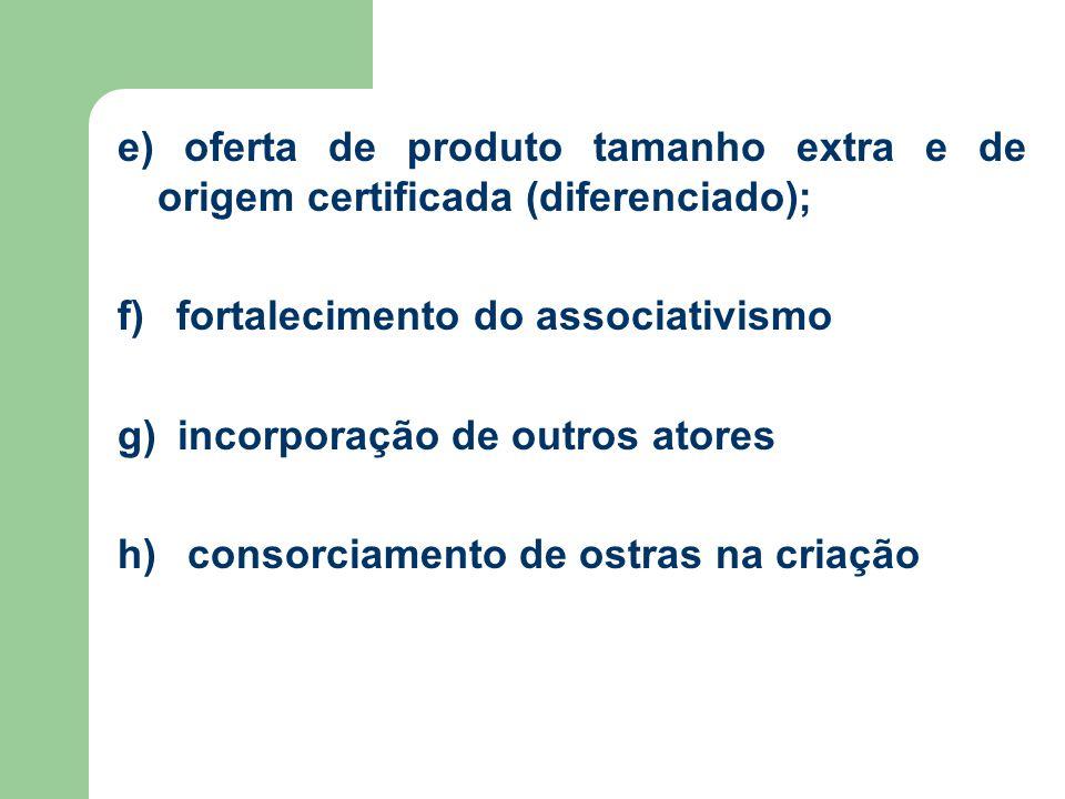 e) oferta de produto tamanho extra e de origem certificada (diferenciado);