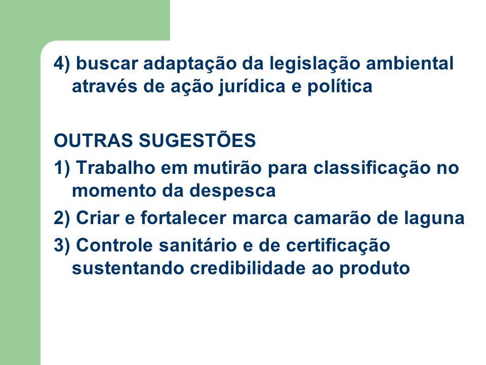 4) buscar adaptação da legislação ambiental através de ação jurídica e política