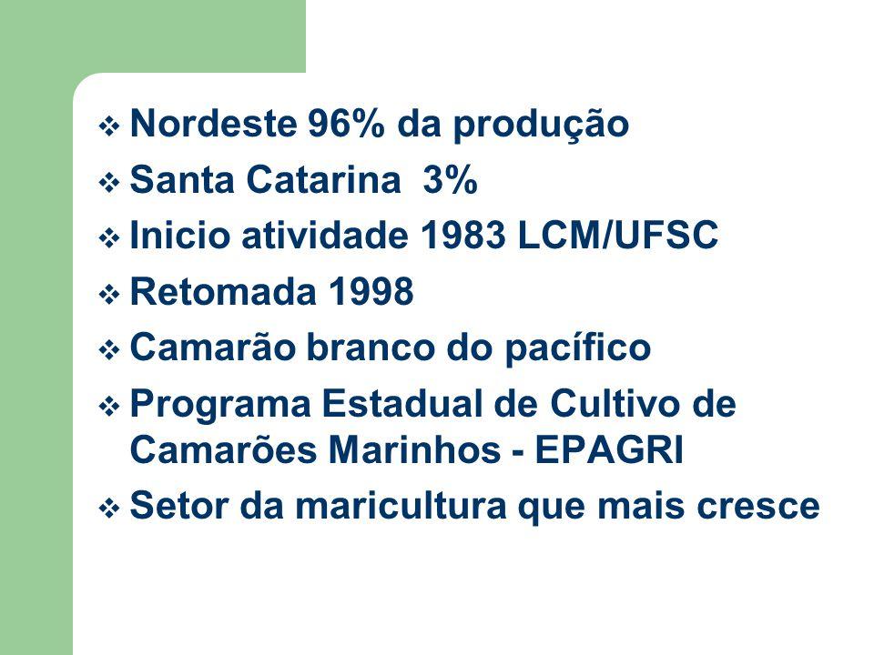 Nordeste 96% da produção Santa Catarina 3% Inicio atividade 1983 LCM/UFSC. Retomada 1998. Camarão branco do pacífico.