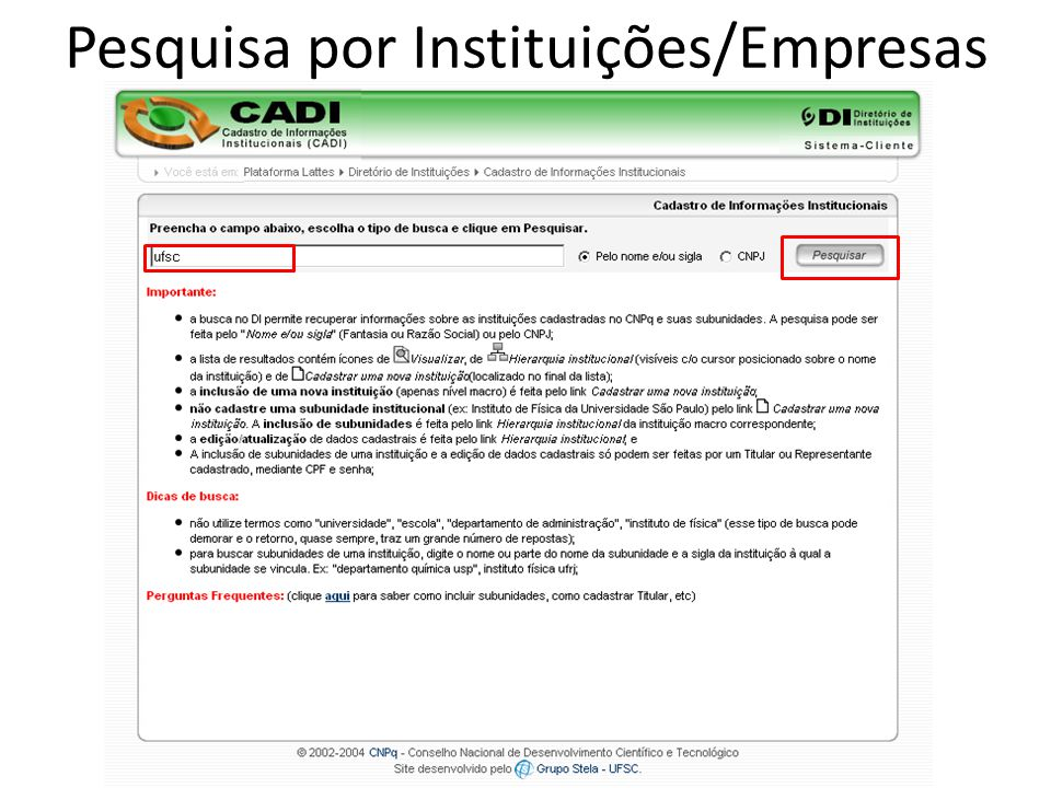 Pesquisa por Instituições/Empresas