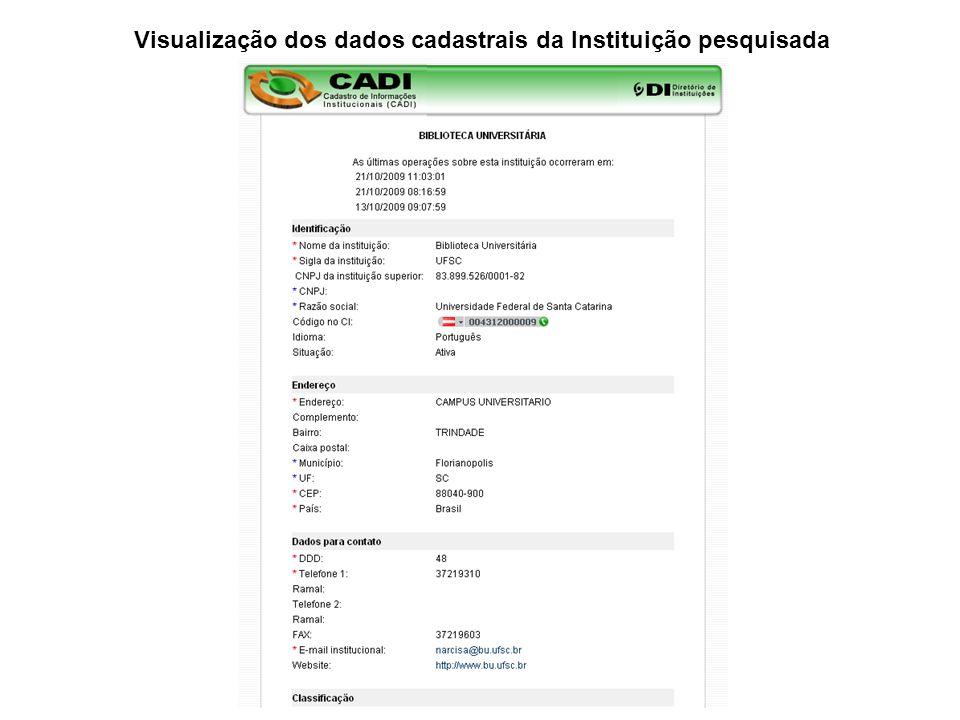 Visualização dos dados cadastrais da Instituição pesquisada