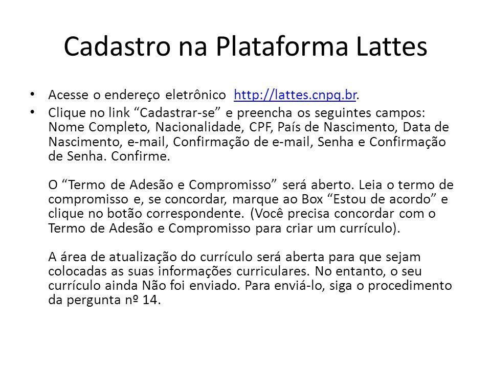 Cadastro na Plataforma Lattes