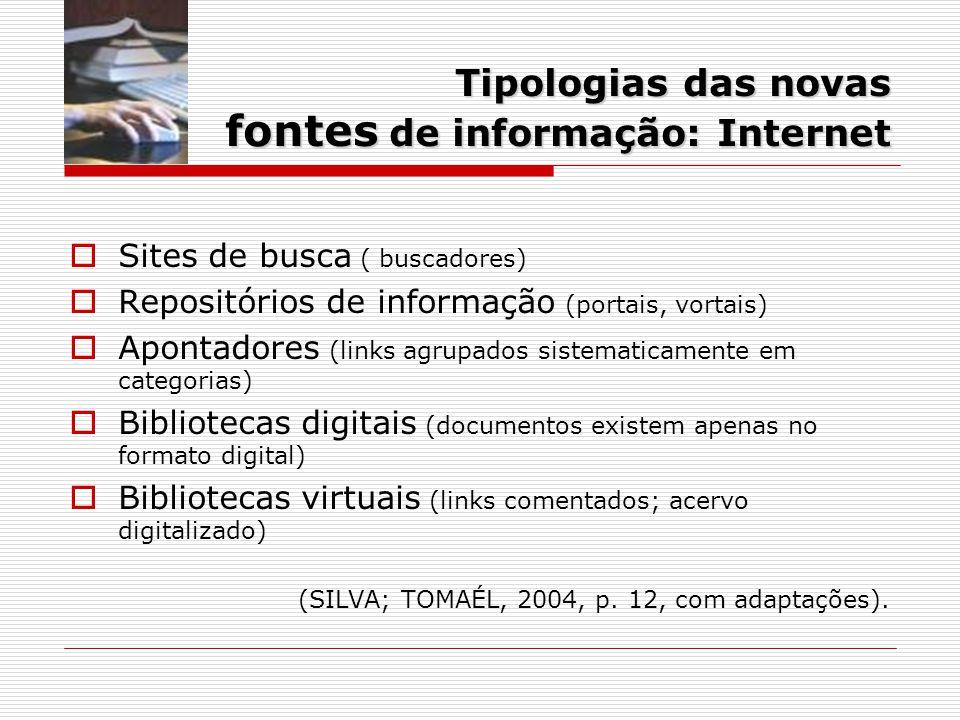 Tipologias das novas fontes de informação: Internet
