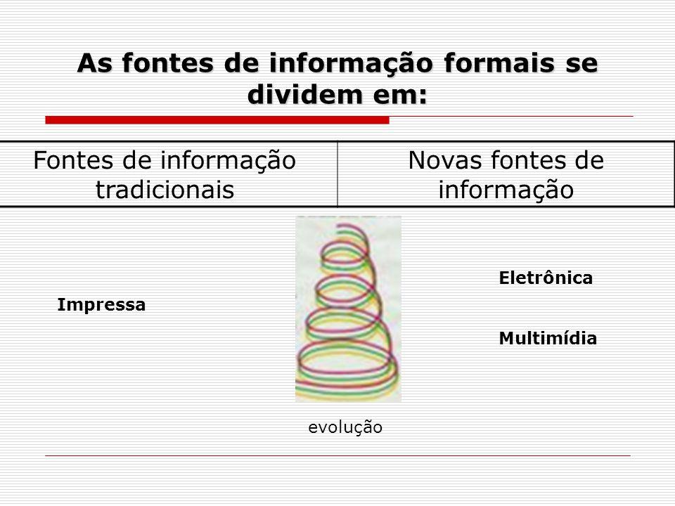 As fontes de informação formais se dividem em: