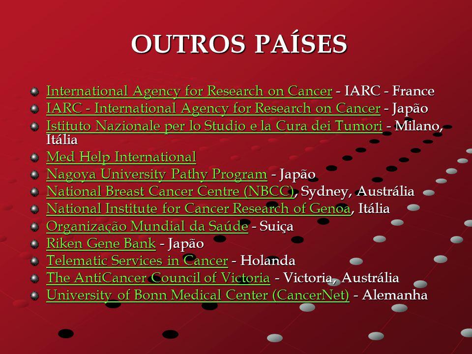 OUTROS PAÍSES International Agency for Research on Cancer - IARC - France. IARC - International Agency for Research on Cancer - Japão.