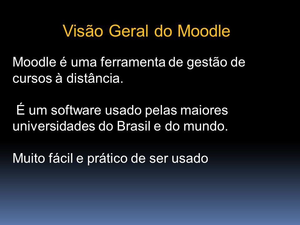 Visão Geral do Moodle Moodle é uma ferramenta de gestão de cursos à distância. É um software usado pelas maiores universidades do Brasil e do mundo.