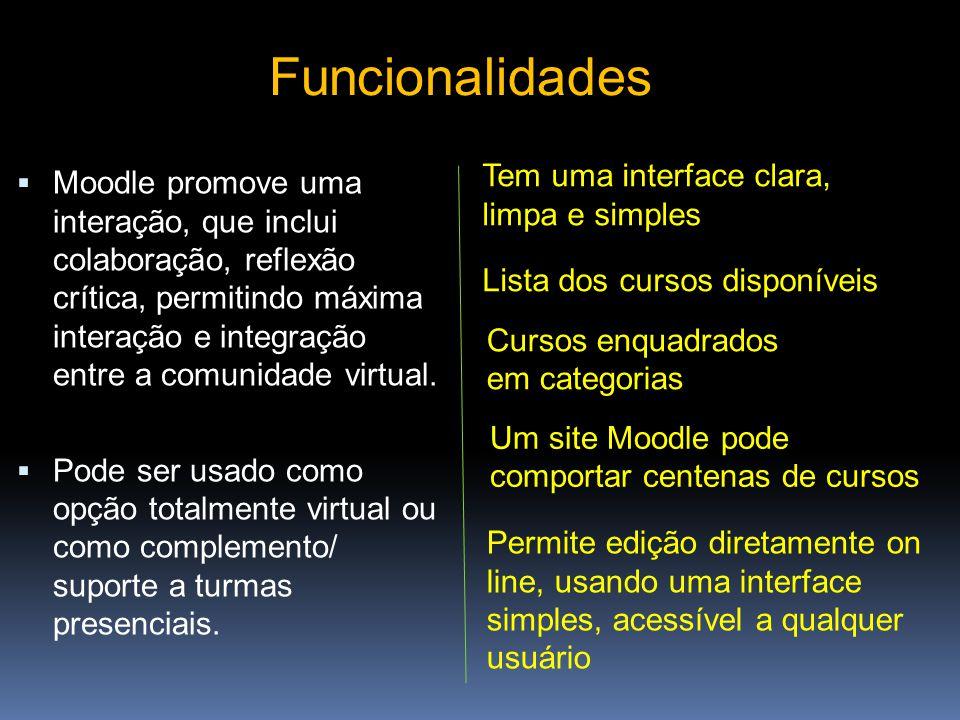 Funcionalidades Tem uma interface clara, limpa e simples