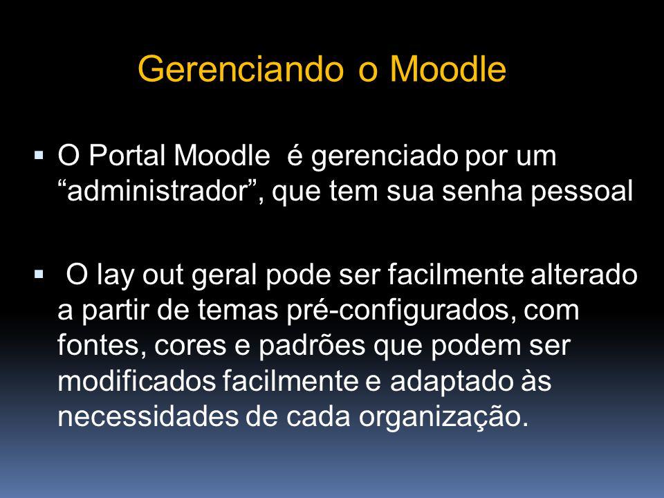 Gerenciando o Moodle O Portal Moodle é gerenciado por um administrador , que tem sua senha pessoal.